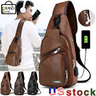 Men's Leather Chest Bag Sports Shoulder Pack Usb Charging Port Crossbody Handbag