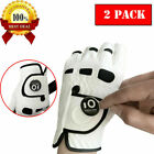 Mens Golf Gloves with Ball Maker Left Right Hand 2 Pack Leather All Weather Grip
