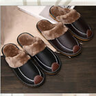 Home Flats Comfy Close Toe House Shoes Slippers Winter Warm Leather Indoor Men's