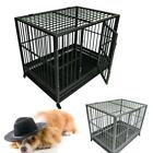 "36"" /42"" 2 Door Dog Fold Metal Pet Cage Crate Kennel w/ Tray Pan 2 Colors"