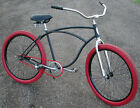 ReCycLeD Vintage Classic Schwinn Flat Black Cruiser BICYCLE HotRod Fat Tire Bike