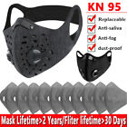 Reusable Face Mask With Breathing Valve Activated Carbon Filter Pad Mouth Cover