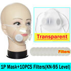 Anti-droplets Respirator Face Mouth Covers Reusable Clear Face Masks +10xfilters