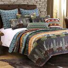 Greenland Home Black Bear Lodge Quilt Decorative Pillows and Sham Set