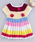 Soft Wool Flower Crochet Short Sleeves Frock - Multi Color Comfortable Dress