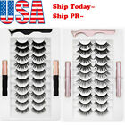 5/7/10 Pairs Magnetic False Eyelashes 2 Eyeliner Liquid Easy Wear Lashes Set Usa