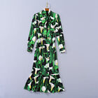 New Occident graceful fresh Printed long sleeve comfortable fishtail dress SMLXL