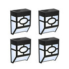 4 Pcs Solar Powered LED Wall Mount Lights Outdoor Garden Door Step Fence Lamps