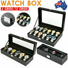 6/12 Grid Leather Watch Display Case Jewelry Collection Storage Holder Box Gift