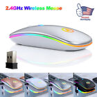 USB 2.4GHz Wireless Optical Mouse Mice Rechargeable RGB For PC Laptop Computer