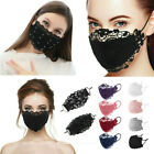 Delicate Lace Applique Washable Reusable Breathable Mouth Mask Face Masks Black