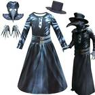 Plague Doctor Steampunk Kid Costume Set Dress Bird Mask Gloves Halloween Cosplay