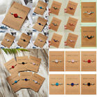 Natural Stone Crystal Moon Braided Rope Bracelet Friendship Couple Card Jewelry