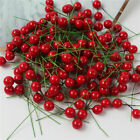 100x Artificial Flower Christmas Red Berry Holly Branch Home Wedding Party Decor