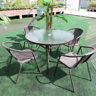 Garden Furniture 5 Piece Set Outdoor Table Stacking Rattan Chair Parasol Hole Uk