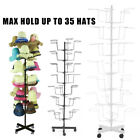 Rotating Hanger Rack 7 Tier Metal Hat Cap Display Floor Stand With 4 Wheel USA