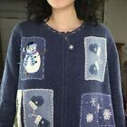 Vintage | Patchwork Tacky Ugly Christmas Sweater Cardigan | Woman's Size XL