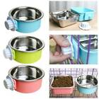 Pet Dog Puppy Stainless Steel Hanging Food Water Bowl Feeder For Crate Cage Lhon
