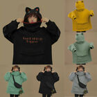 Womens Thick Long Sleeve Hoodie Sweatshirt Cute Frog Tops Pullover Harajuku Coat