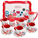 Buyger 14 PCS Kids Tin Tea Set with Tray Pretend Role Play Tea Set Toy for