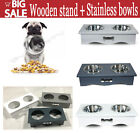 Wooden Large Dog Food Feeding Stand Station Stainless Pet Double Bowls Stand Cat