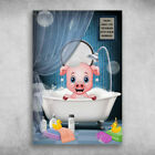 Wash Away You Troubles With Some Bubbles Pig Canvas .75in Mother Gift