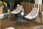 5pcs Rattan Lounges Table Chairs With Cushion Wicker Sofa Set Outdoor Furniture