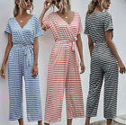 Women Summer Short Sleeve V Neck Striped Jumpsuit Wide Leg Pants Loose with Belt