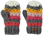 Barts Glove Skeely Mitts Grey Striped Chunky Knitted Ribbed Cuffs