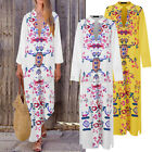 Women Casual Holiday Vintage Print Ladies Elegent Oversize Long Maxi Shirt Dress