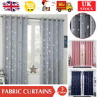 Thick Curtains Thermal Blackout Curtain Ring Top Pair Panel Galaxy Star Kids Uk