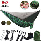 Portable Double Hammock with Mosquito Net Netting Hanging Bed Outdoor Camping