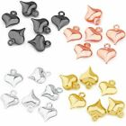80pcs 8x10mm Stainless Steel Heart Cute Necklace Pendant Jewelry Making Finding