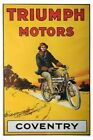 TRIUMPH MOTORS MOTORCYCLE vintage ad poster COVENTRY ENGLAND