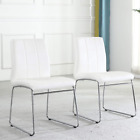Modern Dining Chairs Set of 2, Dining Room Chairs with Faux Leather Padded Seat