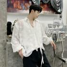 Men's Fashion Long Sleeve Floral Embroidery Loose Shirt Youth See-through D541