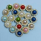 100Pcs Alloy Faux Pearl Rhinestone Flowers Buttons for Crafts Sewing Decor 12 mm