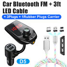 Car Wireless Bluetooth FM Transmitter USB Charger Adapter MP3Player QC3.0 AUX TF