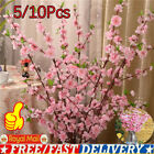 10x Artificial Cherry Spring Plum Peach Blossom Branch Fake Flower Home Decor Uk