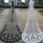 """Black/White/Ivory 118"""" Cathedral Wedding Bridal Veil 1Tier Lace Tulle Veil+Comb"""