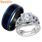 Newshe Wedding Ring Sets For Him And Her Women Men Black Blue Tungsten Bands Cz