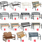 Garden Metal Wood Bench Outdoor Seating Cast Iron Rustic Patio Park 2/3 Seater