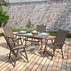 Garden Patio Furniture Set Outdoor Brown 2 4 6 Seat Table And Folding Chairs