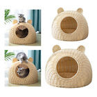 Rattan Cat Bed Semi-Closed Nest Cage Washable Kitty Play House Wicker Basket