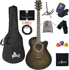 WINZZ 40 Inches Cutaway Acoustic Guitar Beginner Starter Bundle with Online Less for sale