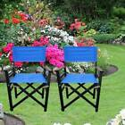 2 Pieces Folding Chair Director Chairs Canvas Populus Wood Camping Seat Portable