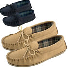 UNISEX GENUINE SUEDE, MOCCASIN SLIPPERS COTTON LINED.