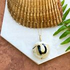 """14KT Yellow Gold & Murano Art Glass Circle Bead Pendant & Gold Necklace NEW 18"""""""
