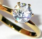 7mm CZ SOLITAIRE RING Round Clear Cubic Zirconia 14K Gold Plated