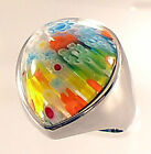 REDUCED! Steel Ring w Millefiori Teardrop Setting